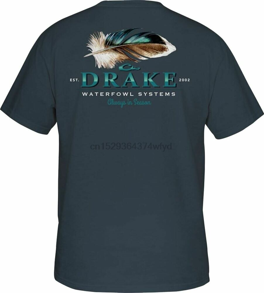Camiseta de manga curta de pena de pato