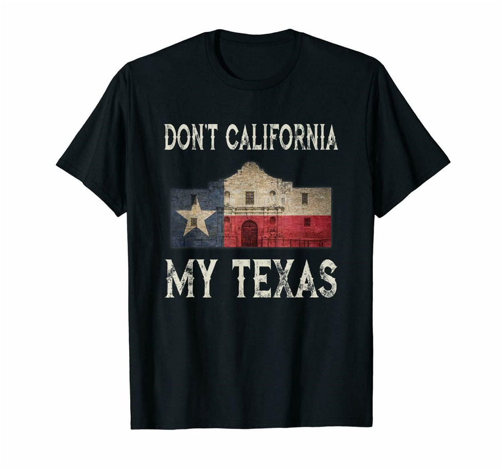 Camiseta negra no California mi Texas Alamo Lone Star bandera del Estado S-3Xl Harajuku Tops Camiseta clásica de moda