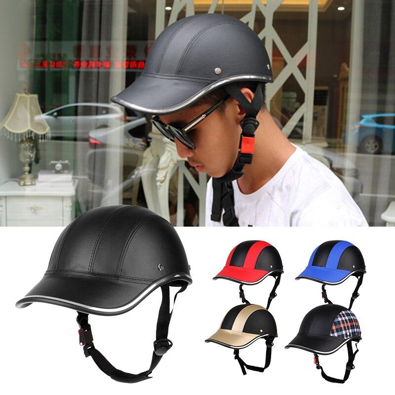 Motorcycle Cycling Half Open Face Helmet Baseball Cap Foam Padded PU Hat Visor Safety Helmet for Outdoor Sport Climbing Baseball