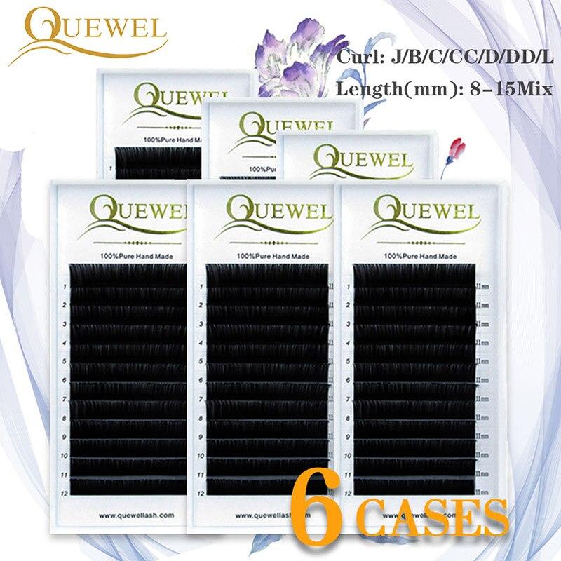 Extensión de pestaña de visón faucks maquillaje Rusia volumen seda pestañas Cilios naturales 6 bandejas pestañas individuales 8-15Mix hecho a mano
