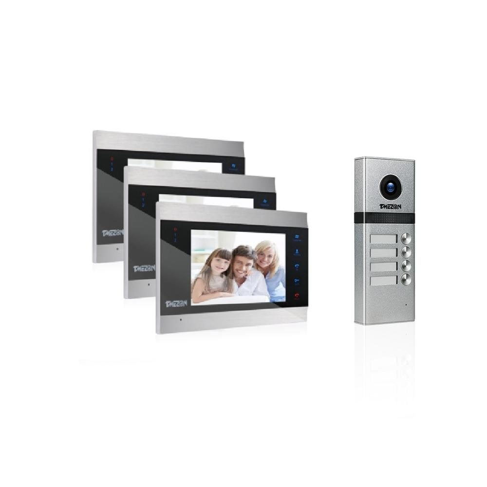 TMEZON Video Intercom Doorbell System With Four Button ,Support Snapshot & Video Record,Design For Three Family