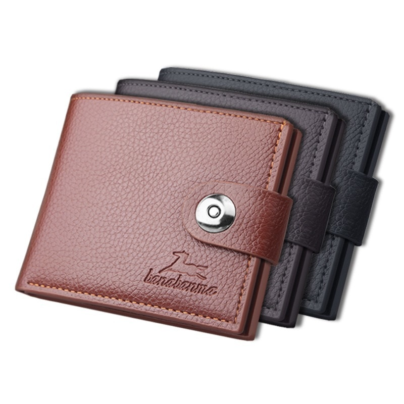 Short Business Men's Vintage Buckle Horizontal Wallet