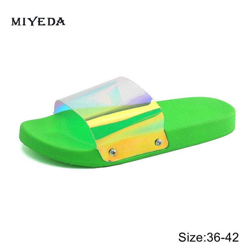 Women Slides Clear Transparent Jelly Slippers Outdoors Female Sexy Summer New Design