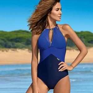 2020 New Plus Size Swimwear One Piece Swimsuit Women Patchwork Slimming Retro Bathing Suits Female Large Swim Wear