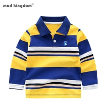 Mudkingdom camisetas Polo chicos de manga larga a rayas lindo dinosaurio Tops bordados