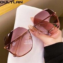 Oulylan Fashion occhiali da sole senza montatura donna Retro Classic Designer occhiali da sole donna poligono in metallo occhiali blu rosa tonalità UV400
