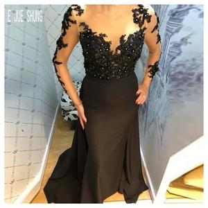 E JUE SHUNG Luxury Black Mermaid Evening Dresses Scoop Neck Long Sleeve Appliques Beaded Formal Party Dresses vestidos de fiesta