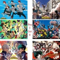 my hero academia posters japanese cartoon wall stickers white coated paper clear image livingroom bedroom decoration