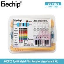 600pcs 1/4W kit di resistori a Film metallico set 30 valori resistori confezione 10R ~ 1M Set di resistori Kit elettronico scatola fai da te 1K 10K 100K ohm