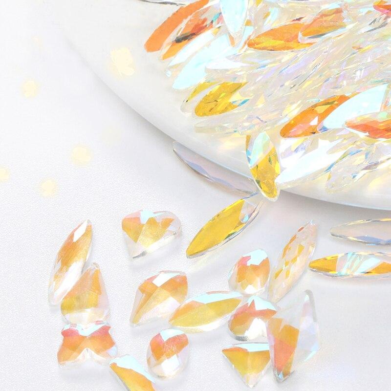 Uñas de cristal piezas cristal brillo plano cristales piedras para diseño artístico...