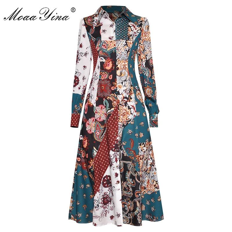 MoaaYina, vestido de pasarela a la moda, vestido de primavera verano para mujer, vestidos elegantes de manga larga con estampado vintage