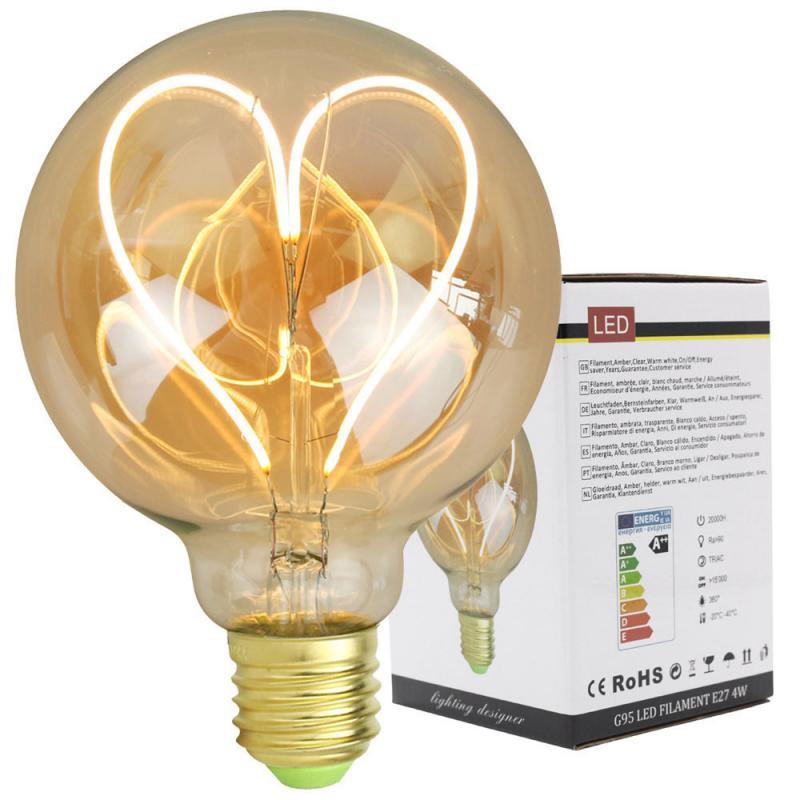 Лампа накаливания Эдисона G95, светодиодная лампа накаливания с регулируемой яркостью, 110 В, 220 В, 4 Вт, E27