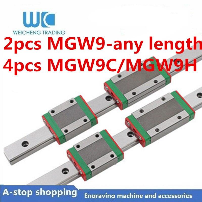 3D طابعة 2 قطعة MGW9 L 100 200 350 400 500 600 700 800 1000 مللي متر مصغرة خطي المنزلق 4 قطعة MGW9H MGW9C الخطي دليل النقل
