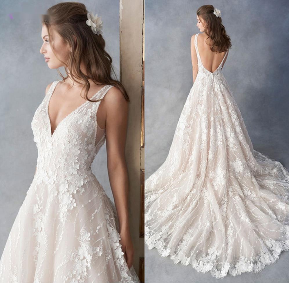 فستان زفاف أبيض 2021 نمط جديد اليدوية الخامس الرقبة زي العرائس فساتين العروس الأميرة خط الدانتيل يزين Vestido De Noiva