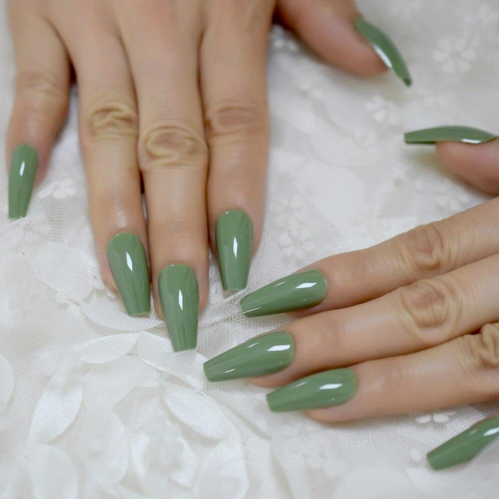 Uñas de bailarina de largo medio cónico Color sólido UV GelNails crema verde hermosas uñas de diseño 24