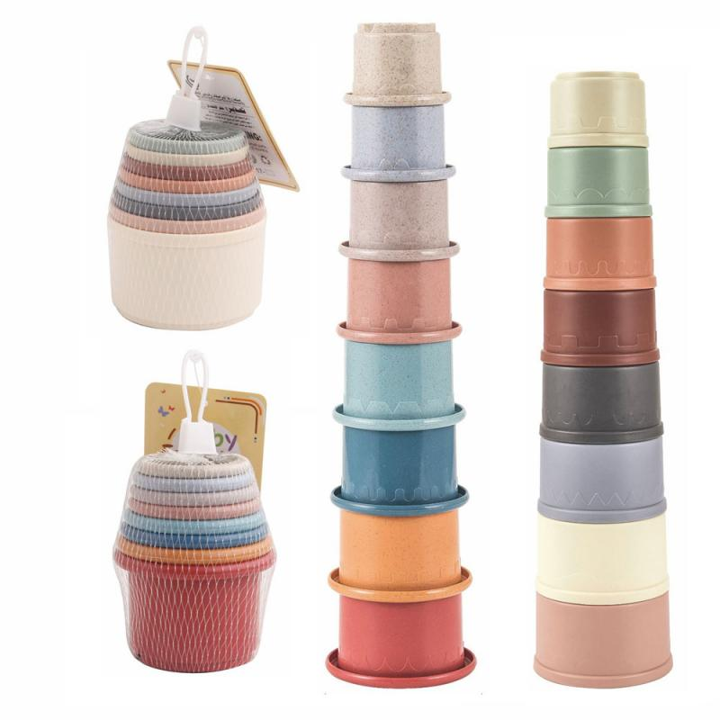 2021 Children Bathroom Puzzle Toys Kids Educational Stacking Cups Colorful Portable Hourglass Buildi