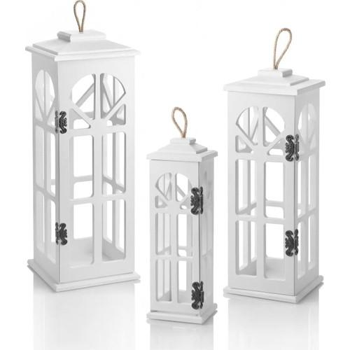 Luxury Design Wooden 3-Piece Decorative Candle Holder Lantern White