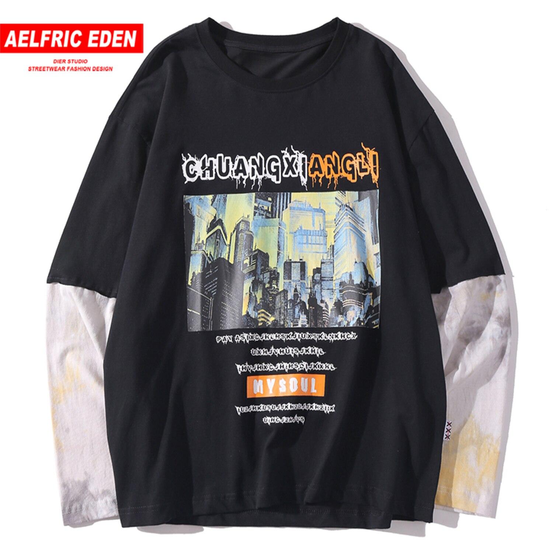 Jersey de algodón Casual de primavera 2020 para Hombre Sudaderas de calle con estampado de Ciudad de remiendo de tinte de corbata de Elfric Edén Vintage Harajuku Hip Hop