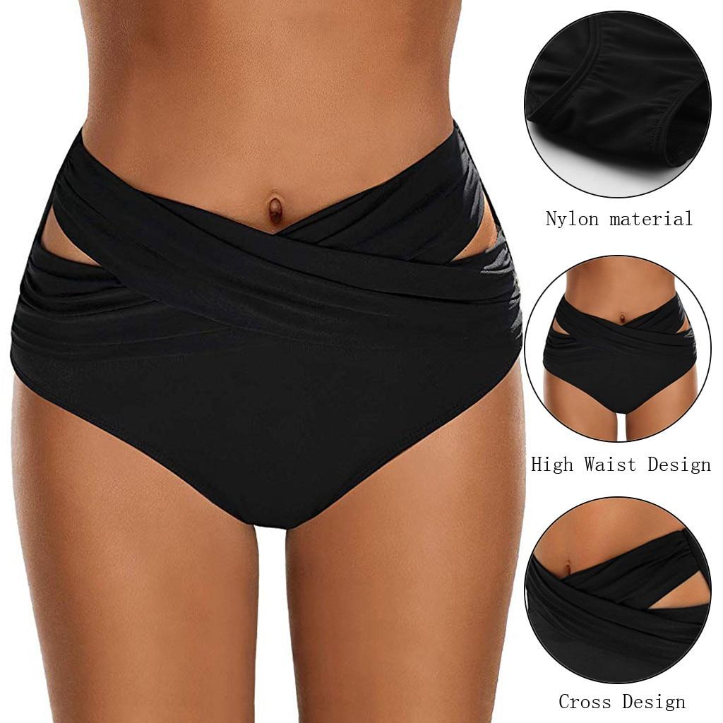 Women High Waist Ruched Bikini Bottoms Tummy Control Swimsuit Briefs Pants High Waist Swimsuit Female Swimwear Women Biquini