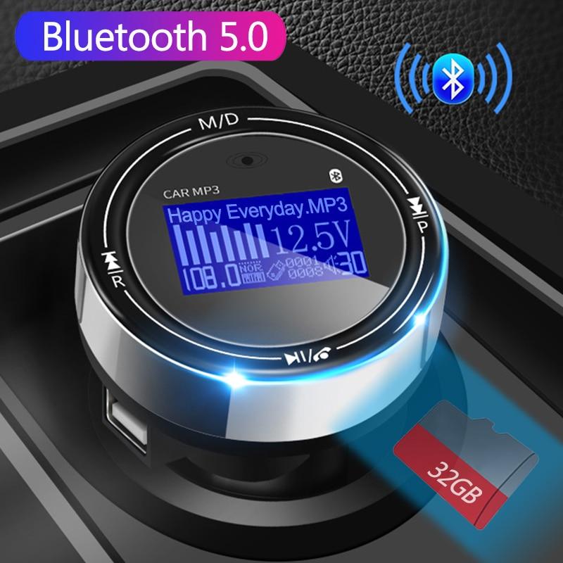 JINSERTA Bluetooth 5.0 Fm Transmitter Handsfree Kit Car MP3 FM Modulator 3.1A Car Charger Support TF USB FLAC APE Music play