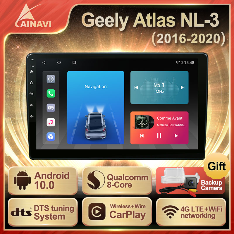 Car Radio QLED Screen Android 10.0 For Geely Atlas NL-3 2016-2020 Auto Stereo Multimedia Video Player Navigation Carplay No 2din
