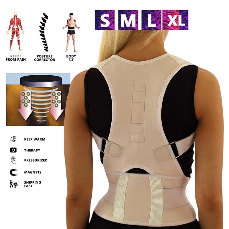 Corretor de postura sentado, cinta de coluna magnética ajustável, para corpo e ombro, costas, terapia correta thj99