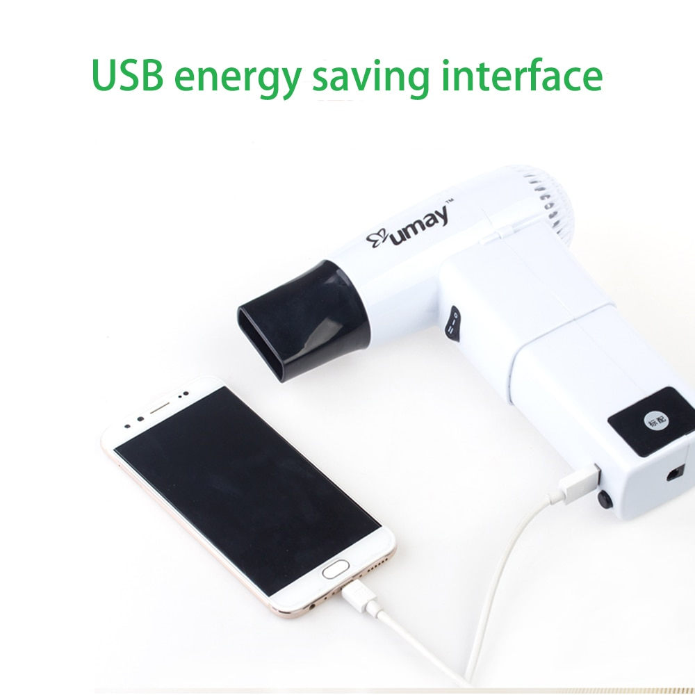 Fashion Wireless Hair Dryer with 2 Batteries Portable White Hair Dryer Suitable for Baby Pet Outdoor Travel Painting Camp Tools enlarge