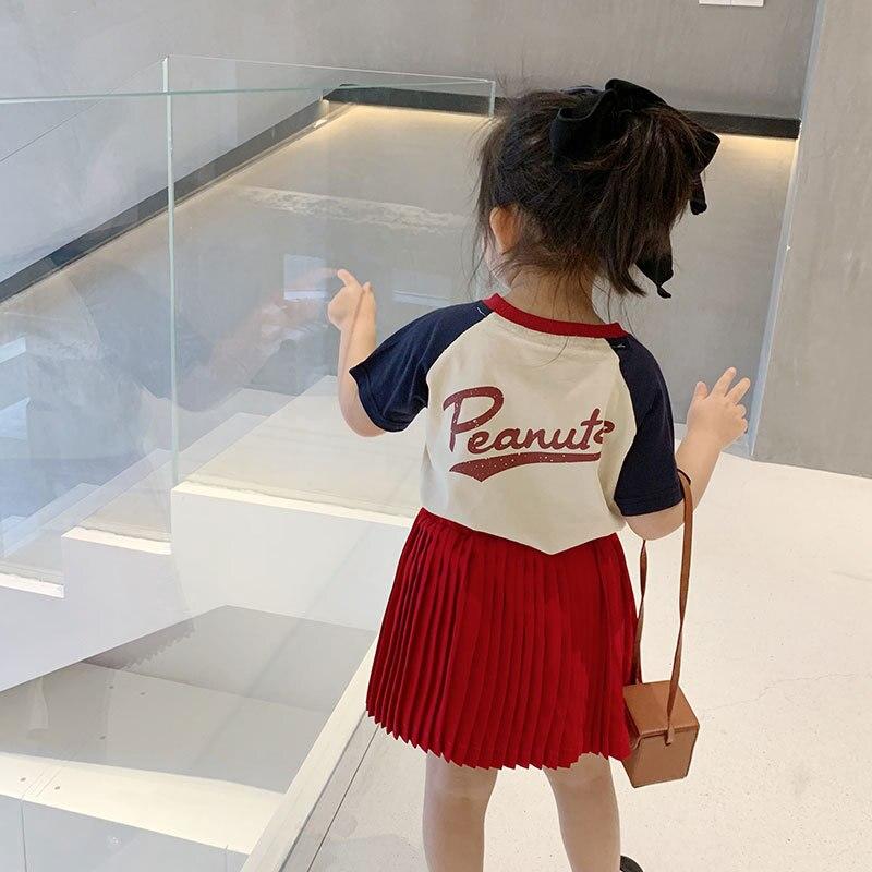 Ropa de verano para niños, camisetas para niños, ropa de estilo coreano para niñas, camisetas casuales para niñas, bonita camiseta con ícono de cacahuete