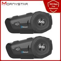 Mornystar 2pcs M6 Plus 1000M motorcycle helmet intercom motorbike wireless bluetooth Headset waterproof BT Interphone with FM