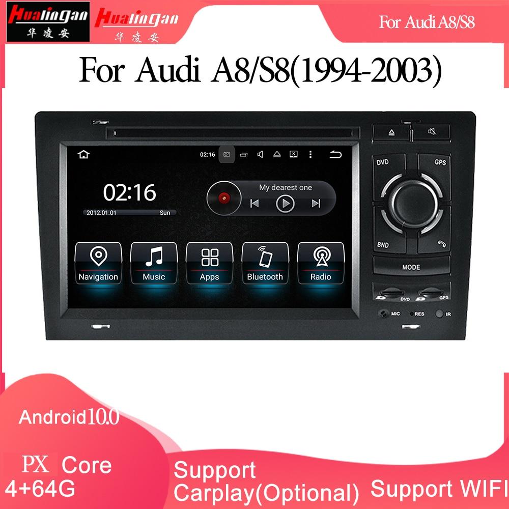 مشغل وسائط متعددة للسيارة GPS ، راديو ستيريو ، DVD ، Android 10 ، Carplay ، لأودي A8/S8(1994-2003) ، 2din