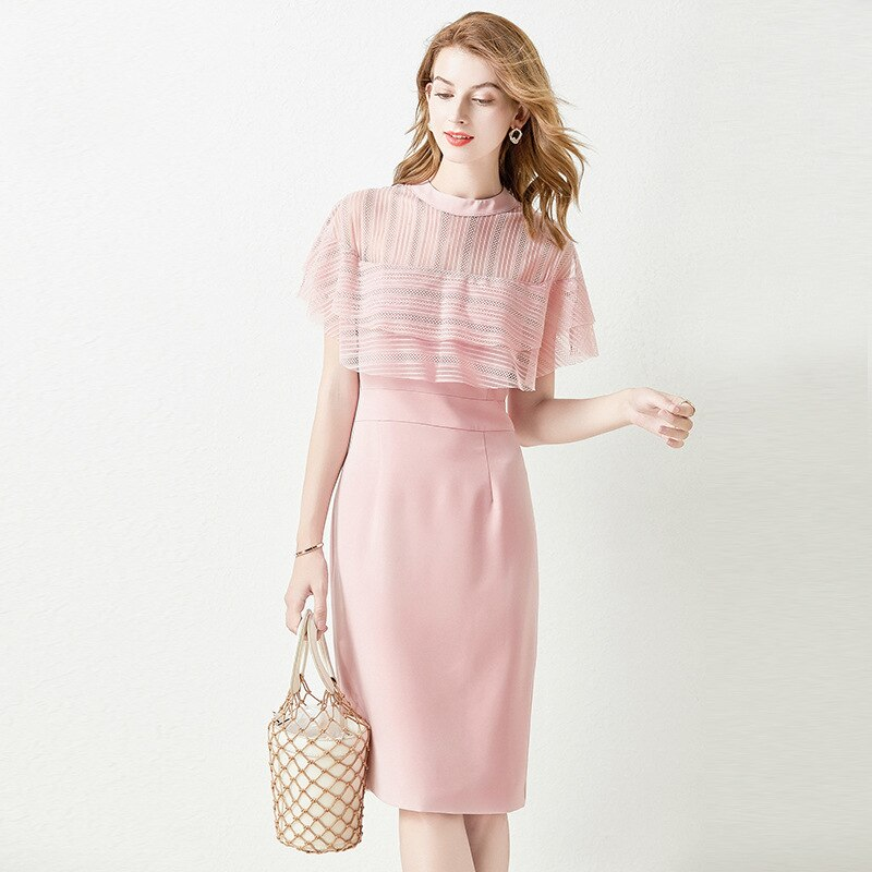 Vestido de verão feminino doce renda splice vestido femme recorte manga gota vestido feminino mid-length vestido de festa elegante rosa