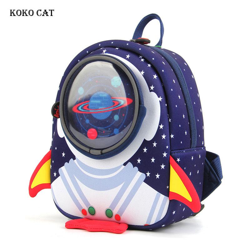 Mochila para niños KOKO CAT 3D Cartoon Rocket mochila para niños pequeños mochila para jardín de infantes bolsa cápsula espacial bolsas Escolares Mochilas Escolares