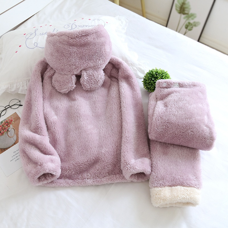 Fdfklak 2020 Winter New Pijama Maternal Hooded Thicken Warm Pajamas For Pregnant Flannel Clothes For Nursing Mothers enlarge