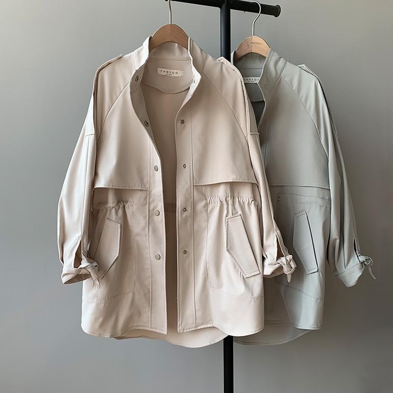 CMAZ New Korean Women Short Trench Coat Fashion Loose Khaki Cropped Windbreaker Overcoat Puff Sleeve