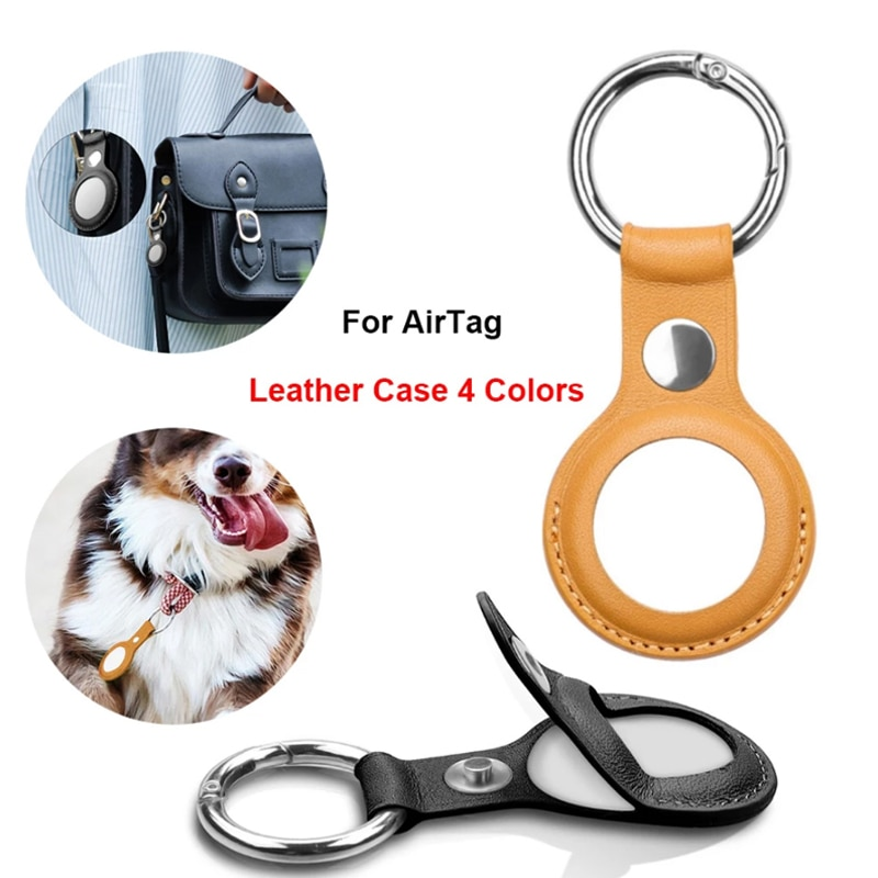 Leather Protective Cover For Airtags Location Tracker Magnetic Button Protector Case For Apple Airtags Tracker GPS Trackers