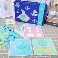 190pcs montessori wooden jigsaw puzzle tangram macaron baby educational wooden toy for children learning developing toys gift