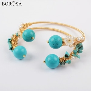 BOROSA 5Pcs Blue Howlites Bangle Gold Plating Wire Wrap Pearl Beads Bangle Jewelry for Women WX1280