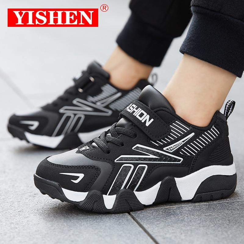 Yishen esportes crianças tênis meninos sapatos casuais para crianças meninas sapatos de couro respirável tenis infantil menino malha do miúdo