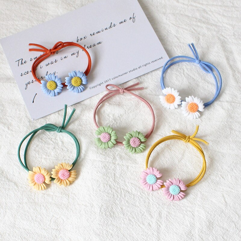 5 pçs colorido flores nó elástico bandas de cabelo artesanal estiramento de borracha simples laços de cabelo rabo de cavalo para senhoras meninas doce
