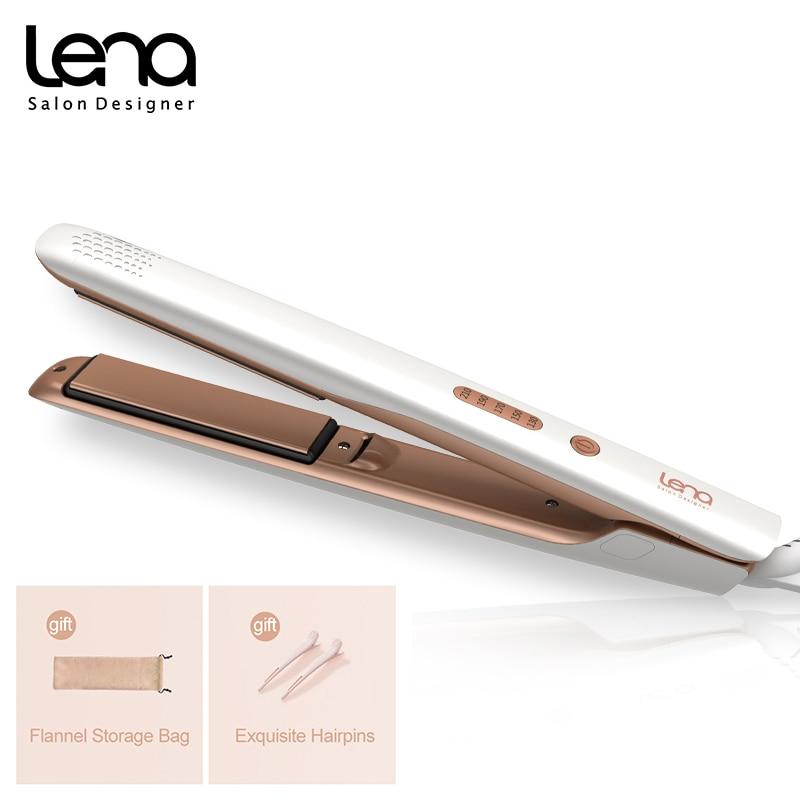 LENA 2 in 1 Hair Straightener Hair Curling Iron Negative Ion Curler Styling Tool Four-Gear Temperatu