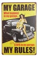 sexy pinup girl my garage my rules home decor pub tin metal sign 12 x 8