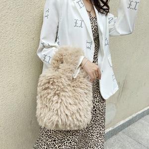 Women Winter Faux Fur Lalambswool Shoulder Bag Handbag Lady Handbag Female Party Small Girls Tote Bag Christmas Gift 2020 new