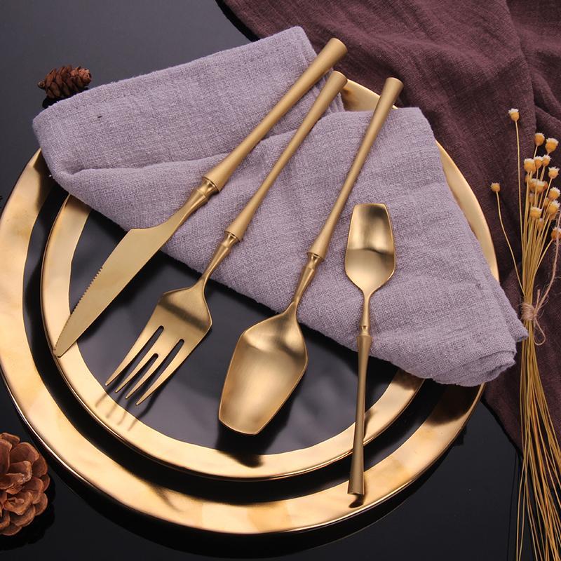 مجموعة أدوات المائدة مرآة طقم سكاكين ذهبية مجموعة أدوات المائدة الفولاذ المقاوم للصدأ Steel24 قطعة مجموعة الصلب الذهب الشوك ملاعق السكاكين الص...