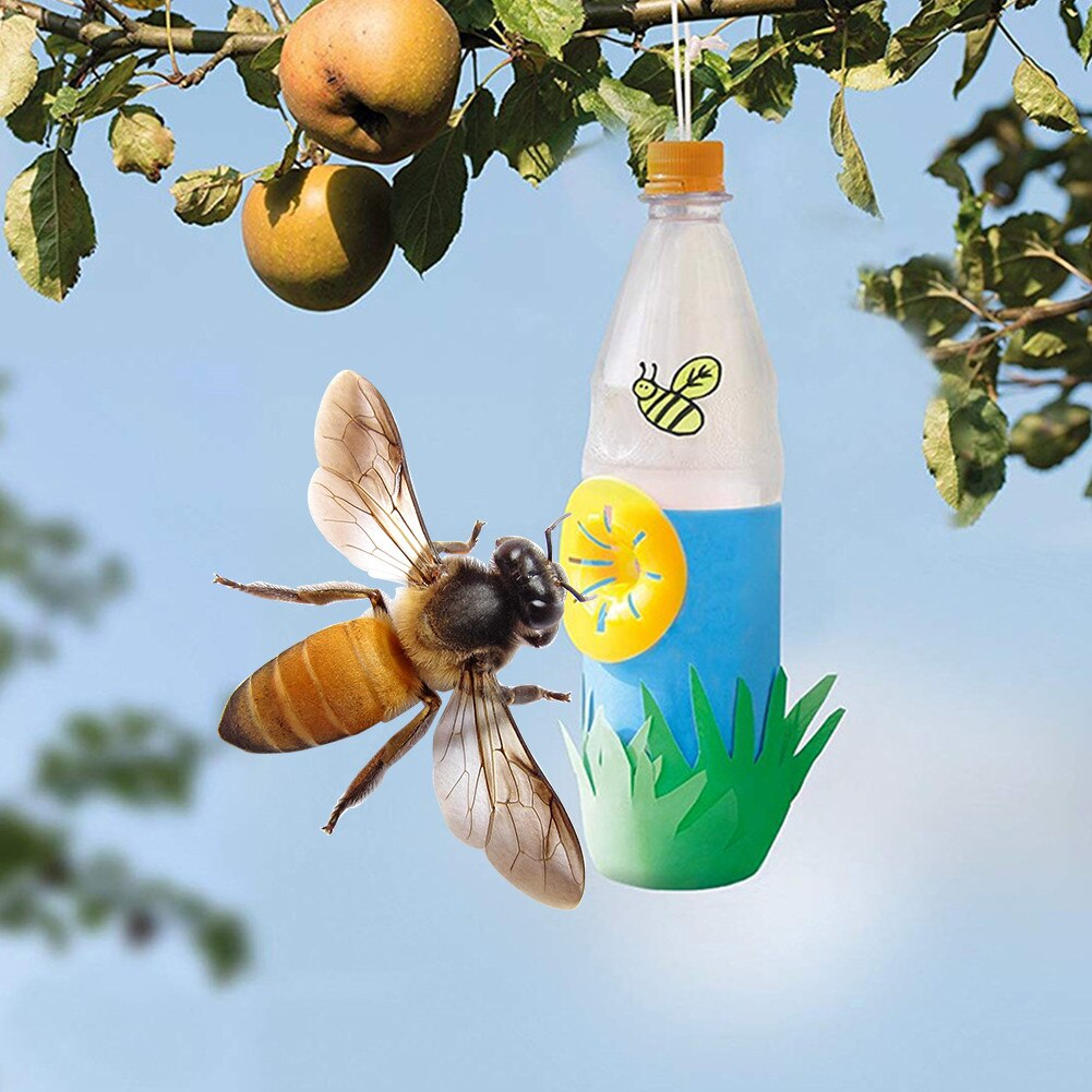 10pcs Home Garden Bee Trap  Hornets Catcher Wasp Insects Funnel Killer Reusable New Plastic Bottle W