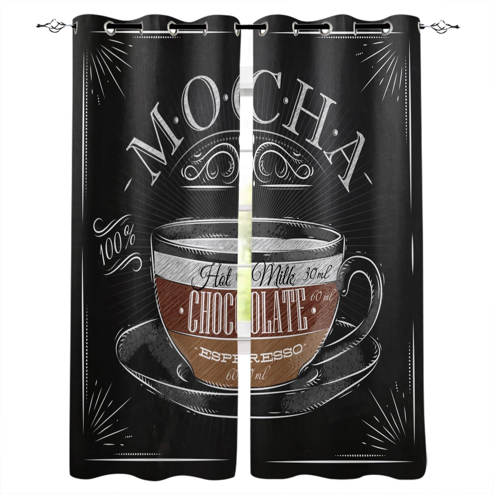 القهوة المشارك فنجان القهوة الأسود الستار للمطبخ غرفة نوم نافذة العلاج الستائر لغرفة المعيشة الحديثة النسيج الستائر