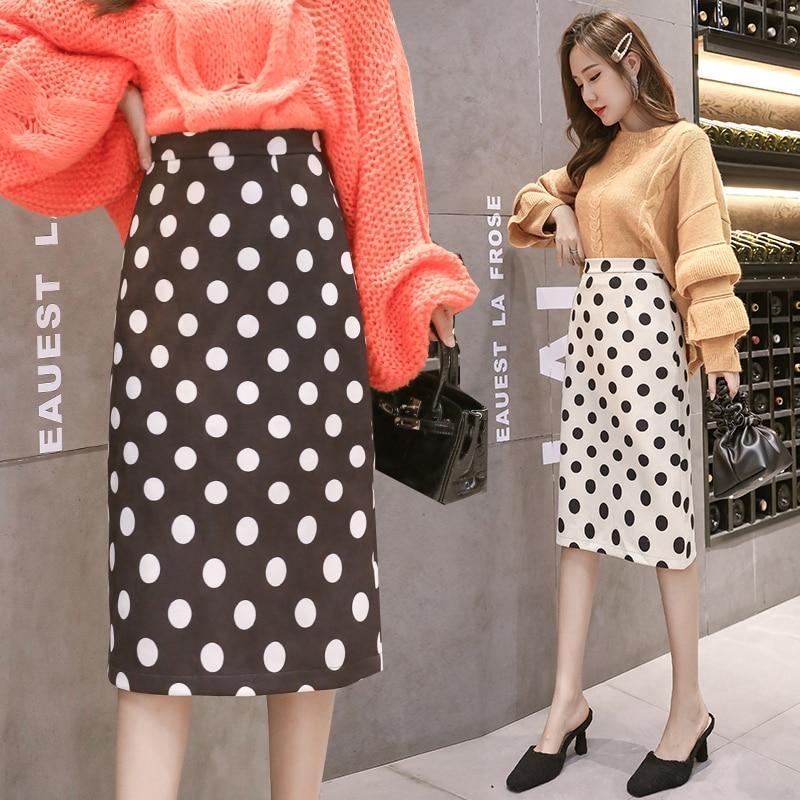 Women Knit Polk Dot Pencil Skirt Female Autumn Winter High Waist Bodycon Vintage Split Thick Stretchy Sweater Skirts