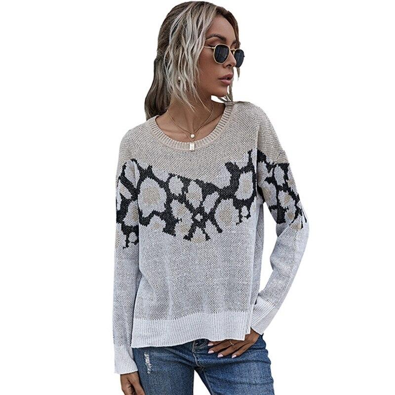 Women Long Sleeve O-Neck Slit Sweater Leopard Patchwork Loose Knit Jumper Top enlarge