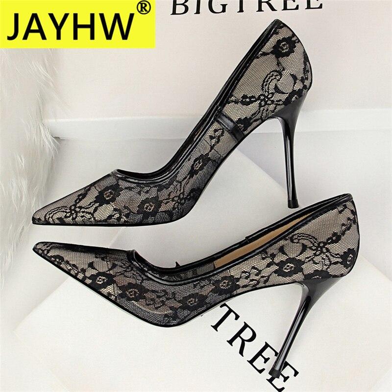 JAYHW New Sexy Pointed Mouth Black Lace Pumps Summer Women Shoes High Heel Woman Pumps Zipper Weddin
