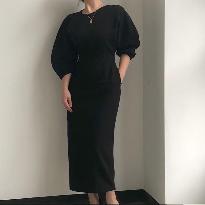 Vestido delgado de Color liso párr mujer de vestido elegante de oficina...