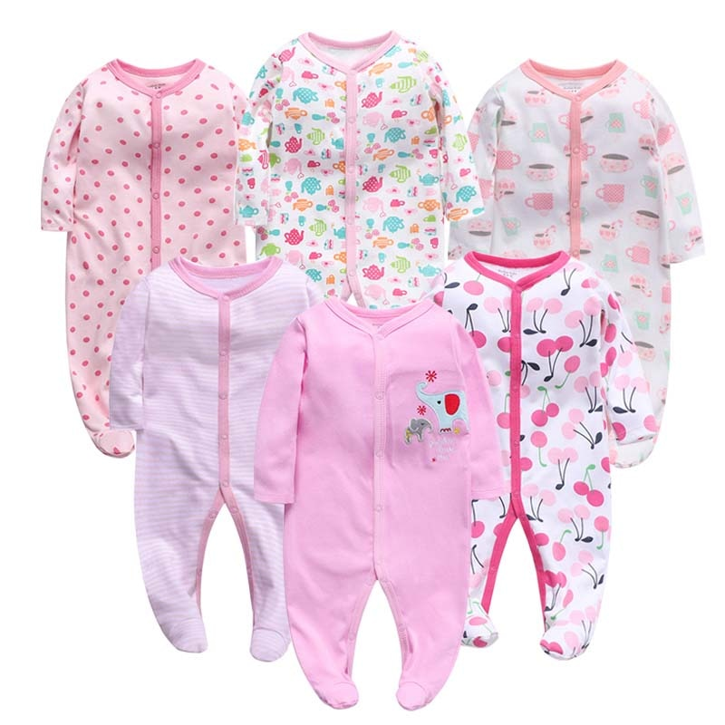 6pcs/Lot Baby Girl Boy Clothes Footed Rompers Comfortable Newborn Pajamas Cartoon Printed Infant Jumpsuit Romper Girls Clothing